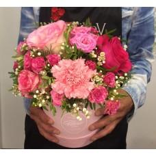 Цветы в коробке Розовое чудо