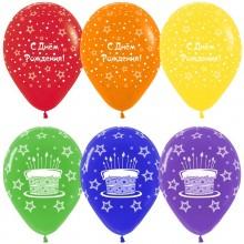 Воздушный шар (12''/30 см) С Днем рождения! (торт и звезды), Ассорти, пастель