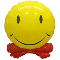 Шар (24''/61 см) Фигура, Смайл с бантиком, Желтый
