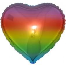 Шар (18''/46 см) Сердце, Радужный, Градиент