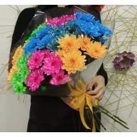 Букет из цветных хризантем