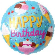 Воздушный шар (18''/46 см) Круг, С Днем Рождения (мороженое)